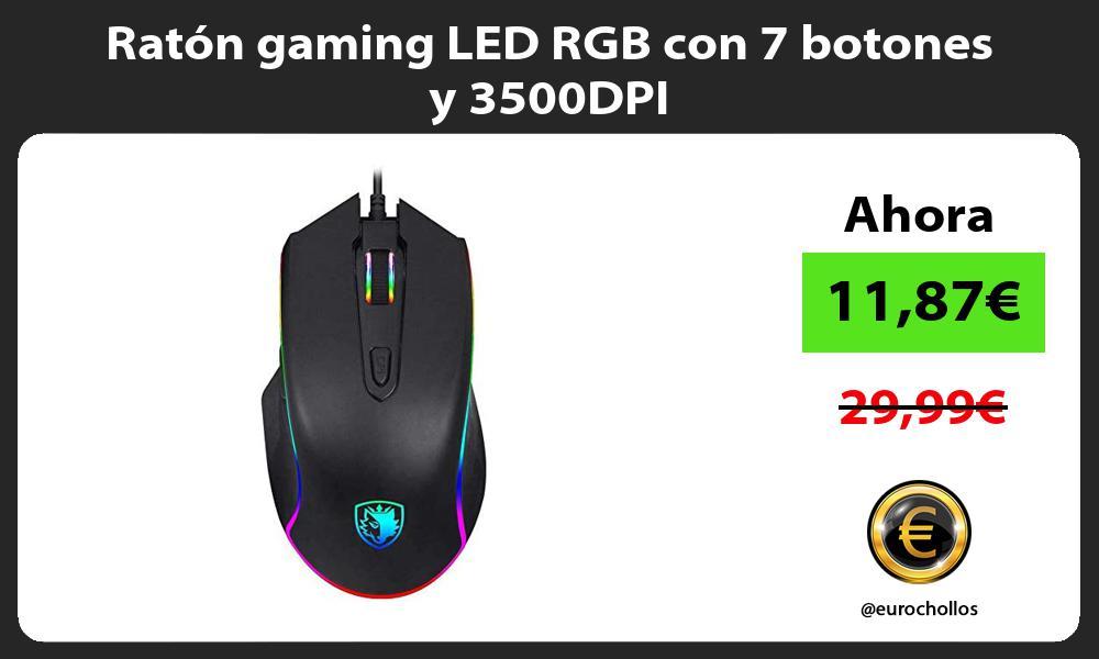 Ratón gaming LED RGB con 7 botones y 3500DPI