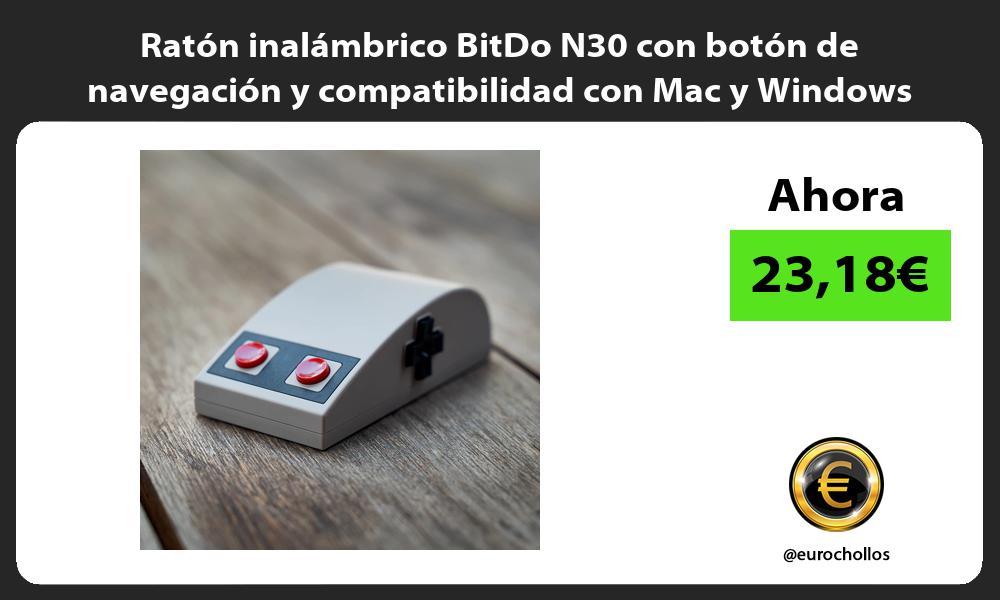 Ratón inalámbrico BitDo N30 con botón de navegación y compatibilidad con Mac y Windows
