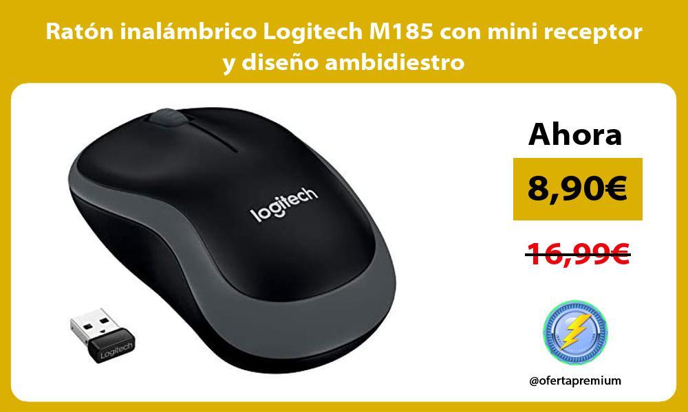 Ratón inalámbrico Logitech M185 con mini receptor y diseño ambidiestro