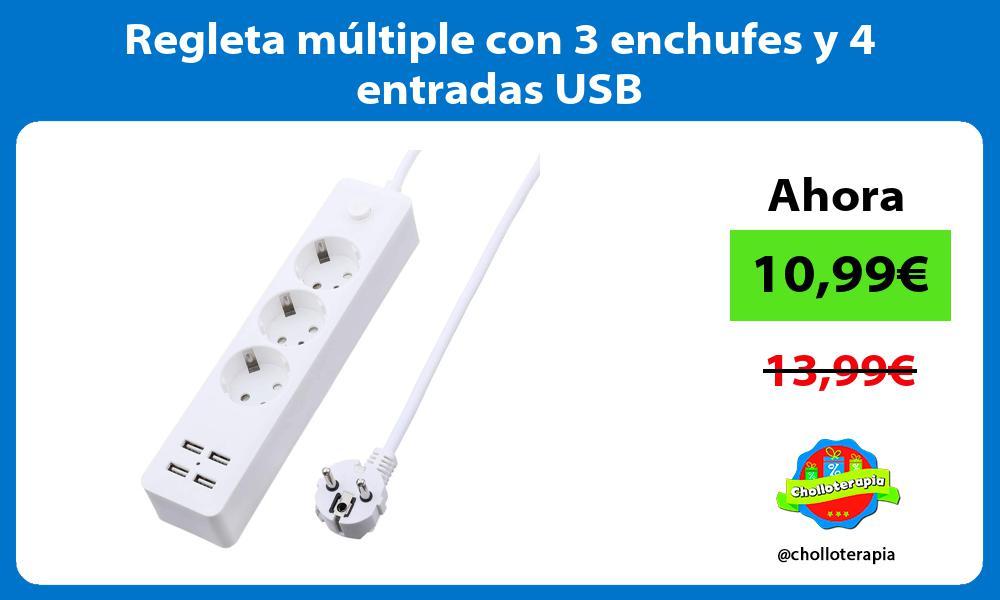Regleta múltiple con 3 enchufes y 4 entradas USB