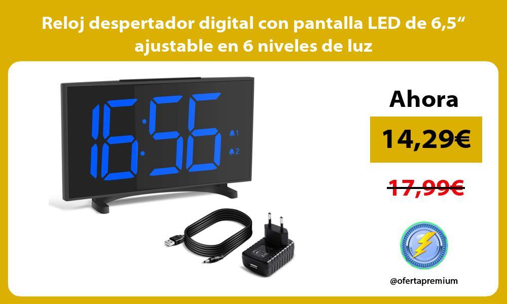 "Reloj despertador digital con pantalla LED de 65"" ajustable en 6 niveles de luz"