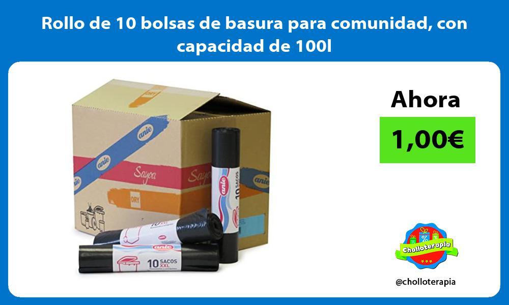 Rollo de 10 bolsas de basura para comunidad con capacidad de 100l