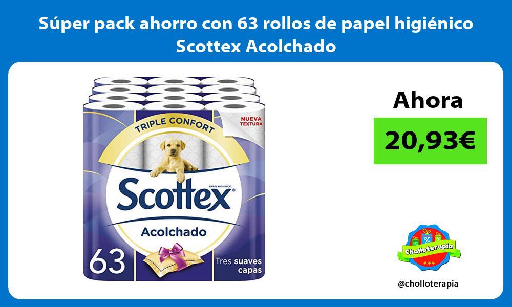 Súper pack ahorro con 63 rollos de papel higiénico Scottex Acolchado