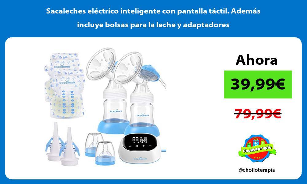 Sacaleches eléctrico inteligente con pantalla táctil Además incluye bolsas para la leche y adaptadores