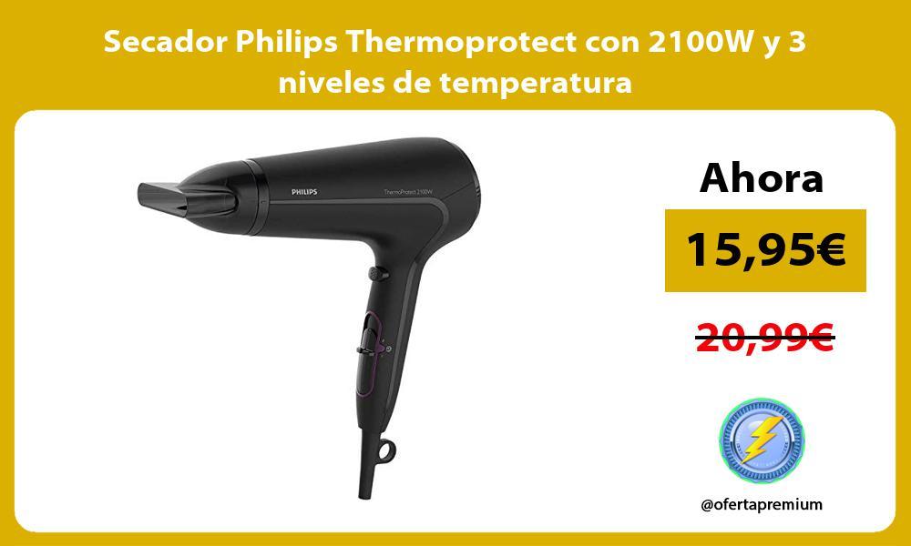 Secador Philips Thermoprotect con 2100W y 3 niveles de temperatura