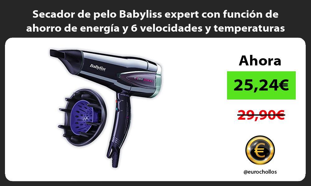 Secador de pelo Babyliss expert con función de ahorro de energía y 6 velocidades y temperaturas