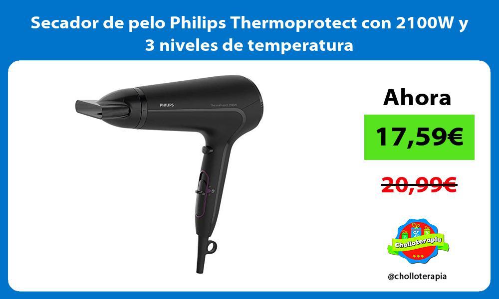 Secador de pelo Philips Thermoprotect con 2100W y 3 niveles de temperatura