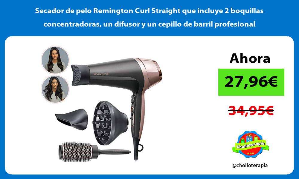 Secador de pelo Remington Curl Straight que incluye 2 boquillas concentradoras un difusor y un cepillo de barril profesional