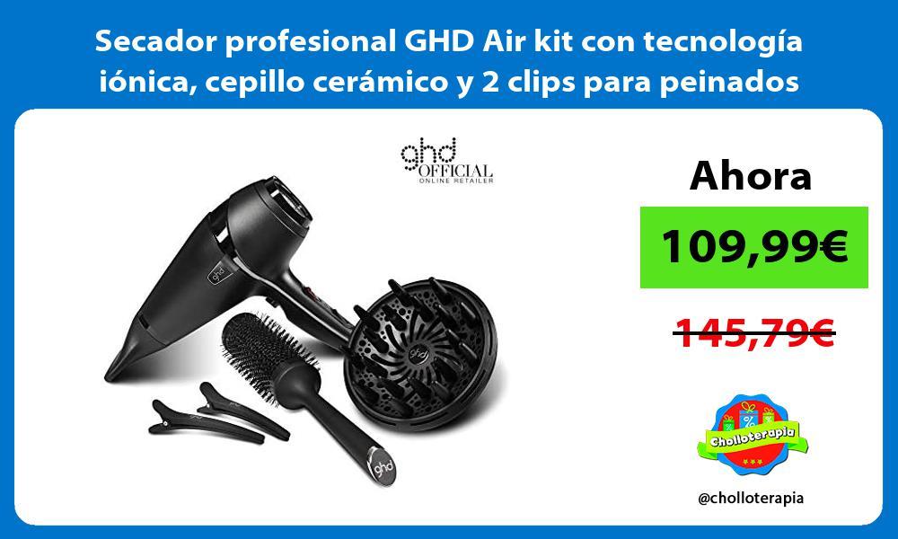 Secador profesional GHD Air kit con tecnología iónica cepillo cerámico y 2 clips para peinados