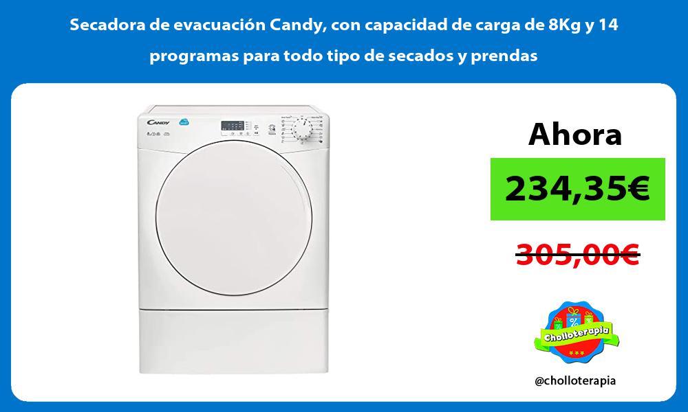 Secadora de evacuación Candy con capacidad de carga de 8Kg y 14 programas para todo tipo de secados y prendas