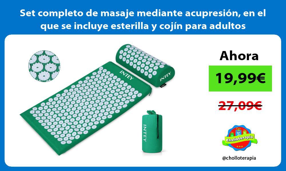 Set completo de masaje mediante acupresión en el que se incluye esterilla y cojín para adultos