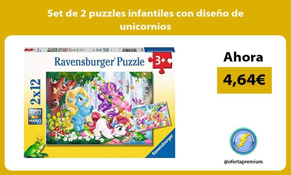 Set de 2 puzzles infantiles con diseño de unicornios