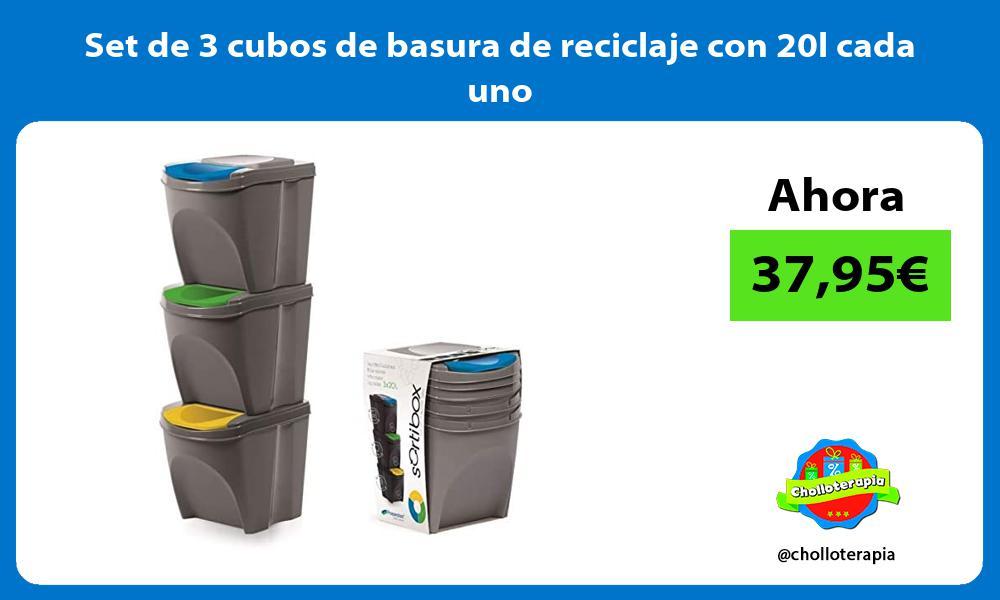 Set de 3 cubos de basura de reciclaje con 20l cada uno