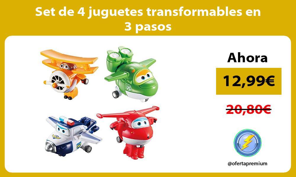 Set de 4 juguetes transformables en 3 pasos