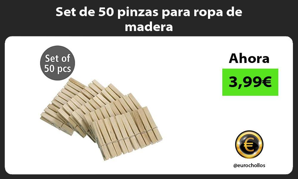 Set de 50 pinzas para ropa de madera