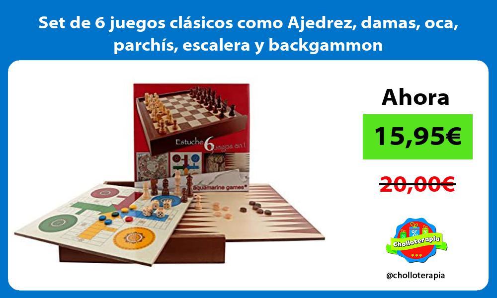 Set de 6 juegos clásicos como Ajedrez damas oca parchís escalera y backgammon