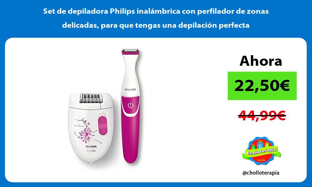 Set de depiladora Philips inalámbrica con perfilador de zonas delicadas para que tengas una depilación perfecta