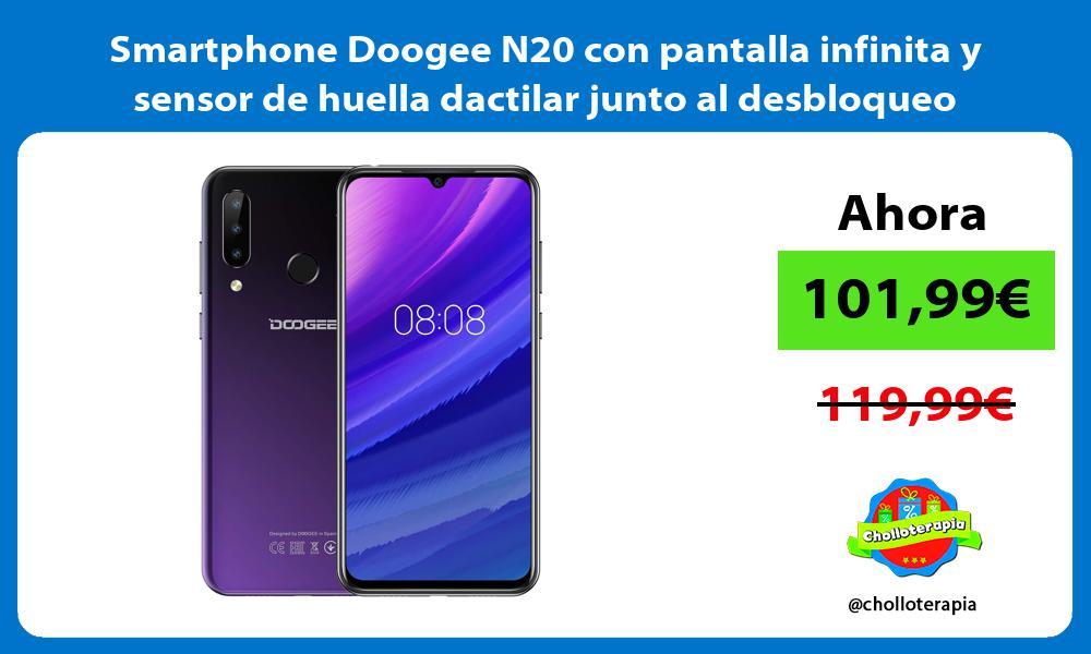 Smartphone Doogee N20 con pantalla infinita y sensor de huella dactilar junto al desbloqueo facial
