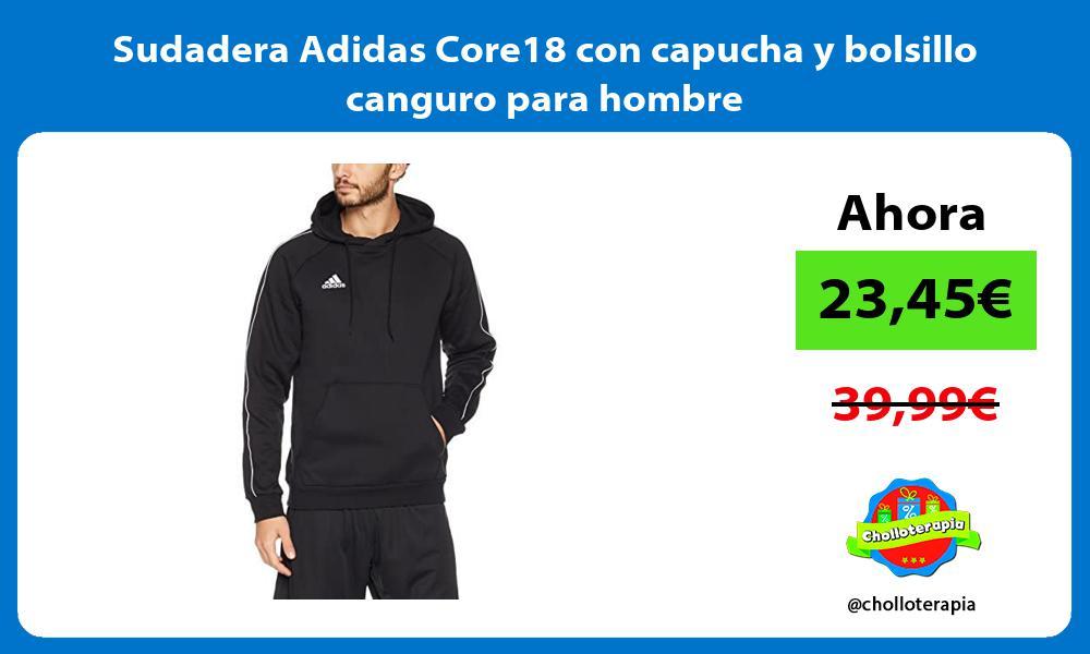 Sudadera Adidas Core18 con capucha y bolsillo canguro para hombre