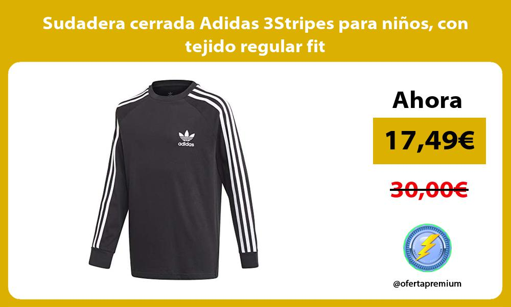 Sudadera cerrada Adidas 3Stripes para niños con tejido regular fit
