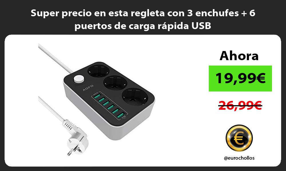 Super precio en esta regleta con 3 enchufes 6 puertos de carga rápida USB