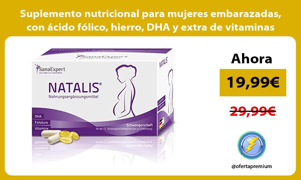 Suplemento nutricional para mujeres embarazadas con ácido fólico hierro DHA y extra de vitaminas