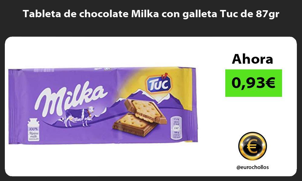 Tableta de chocolate Milka con galleta Tuc de 87gr