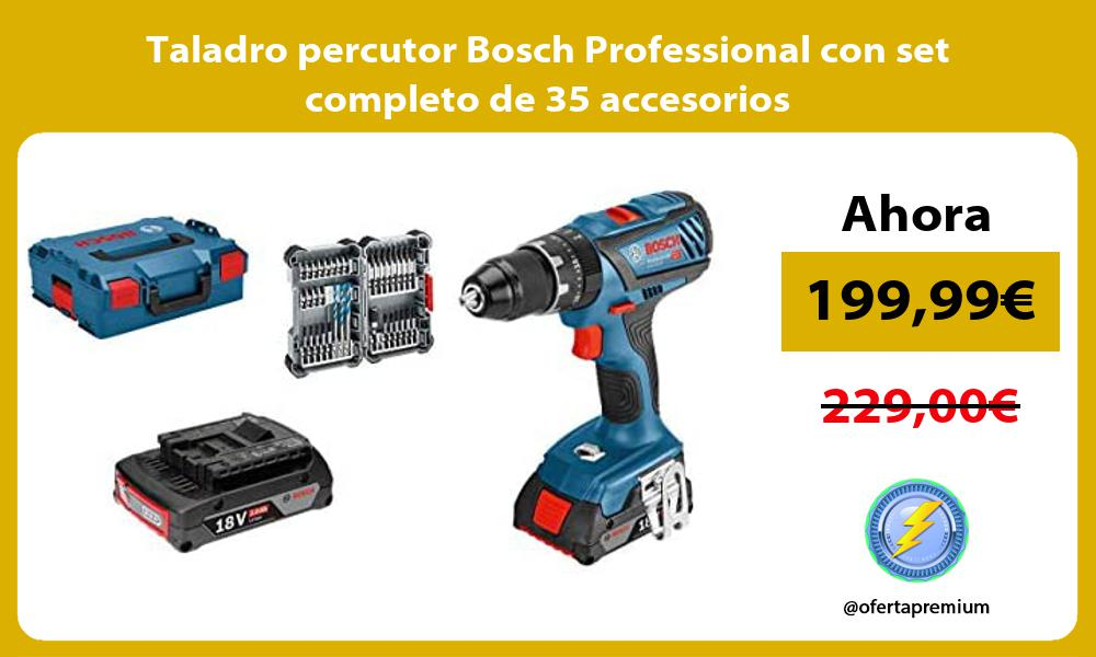 Taladro percutor Bosch Professional con set completo de 35 accesorios