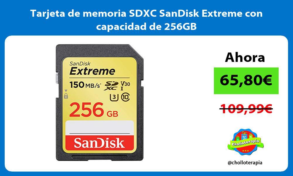 Tarjeta de memoria SDXC SanDisk Extreme con capacidad de 256GB