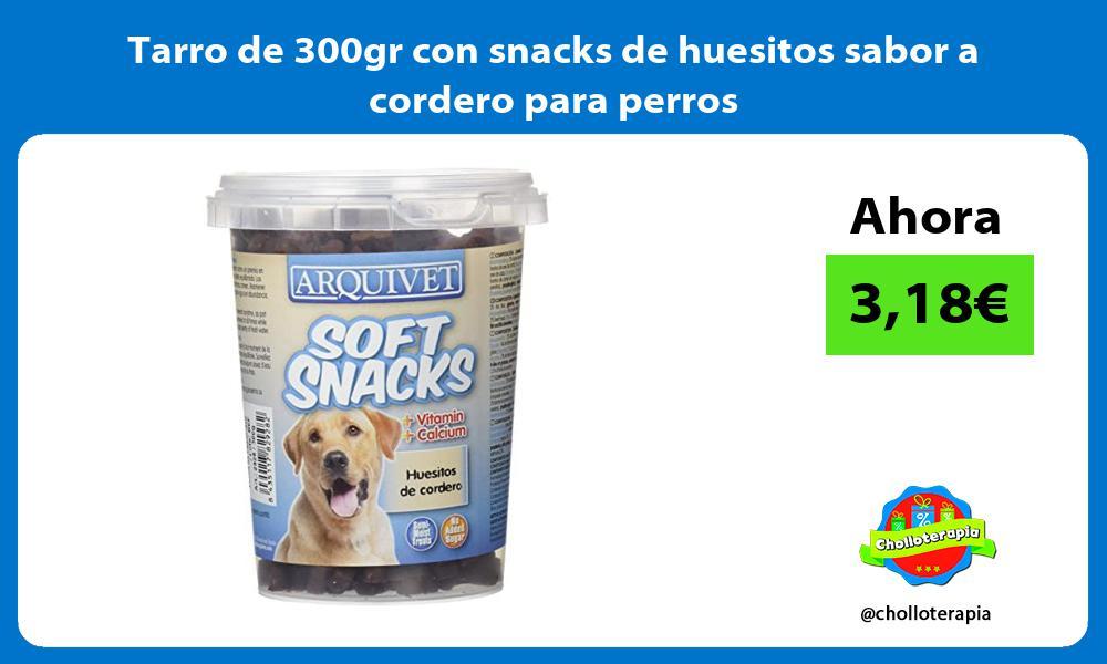 Tarro de 300gr con snacks de huesitos sabor a cordero para perros