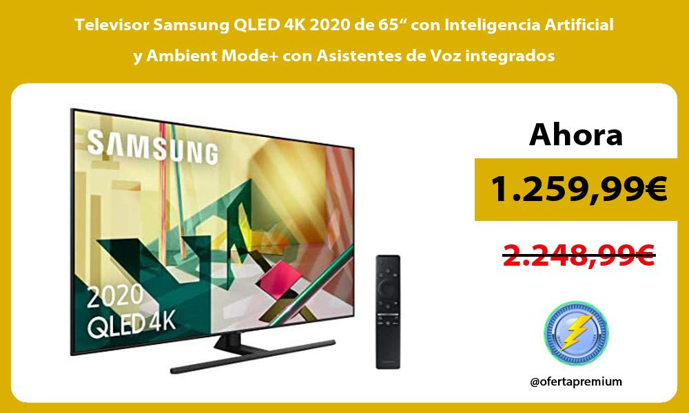"""Televisor Samsung QLED 4K 2020 de 65"""" con Inteligencia Artificial y Ambient Mode con Asistentes de Voz integrados"""