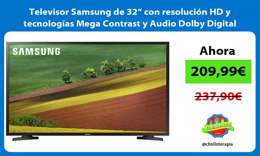 """Televisor Samsung de 32"""" con resolución HD y tecnologías Mega Contrast y Audio Dolby Digital Plus"""