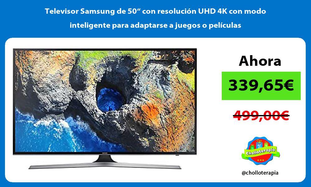 """Televisor Samsung de 50"""" con resolución UHD 4K con modo inteligente para adaptarse a juegos o películas"""