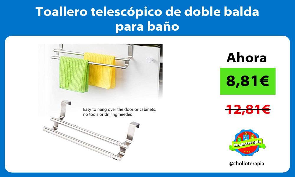 Toallero telescópico de doble balda para baño