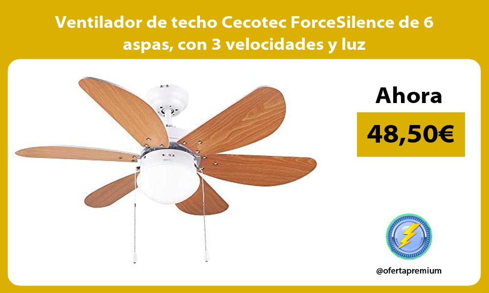 Ventilador de techo Cecotec ForceSilence de 6 aspas con 3 velocidades y luz