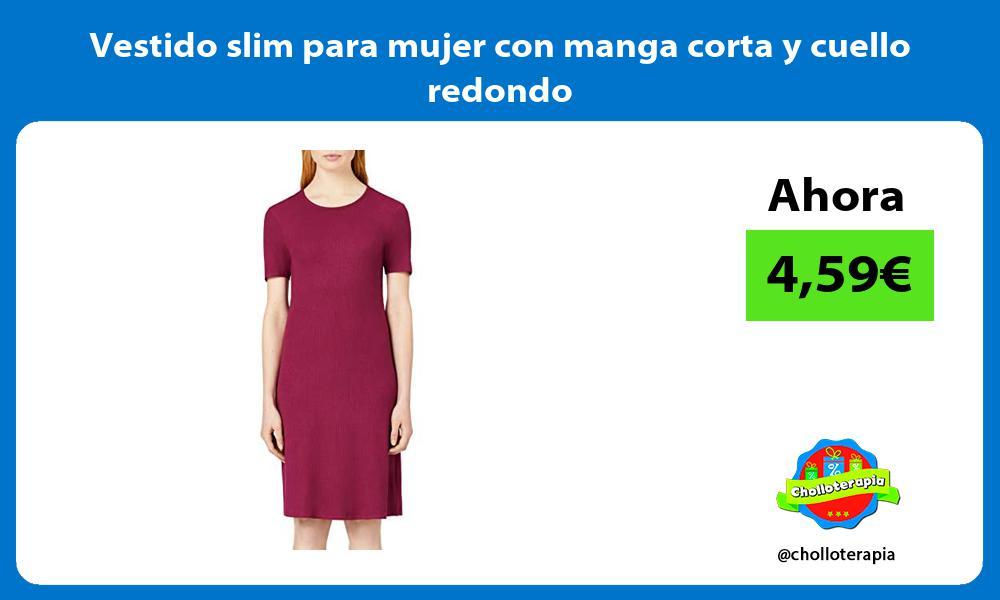 Vestido slim para mujer con manga corta y cuello redondo