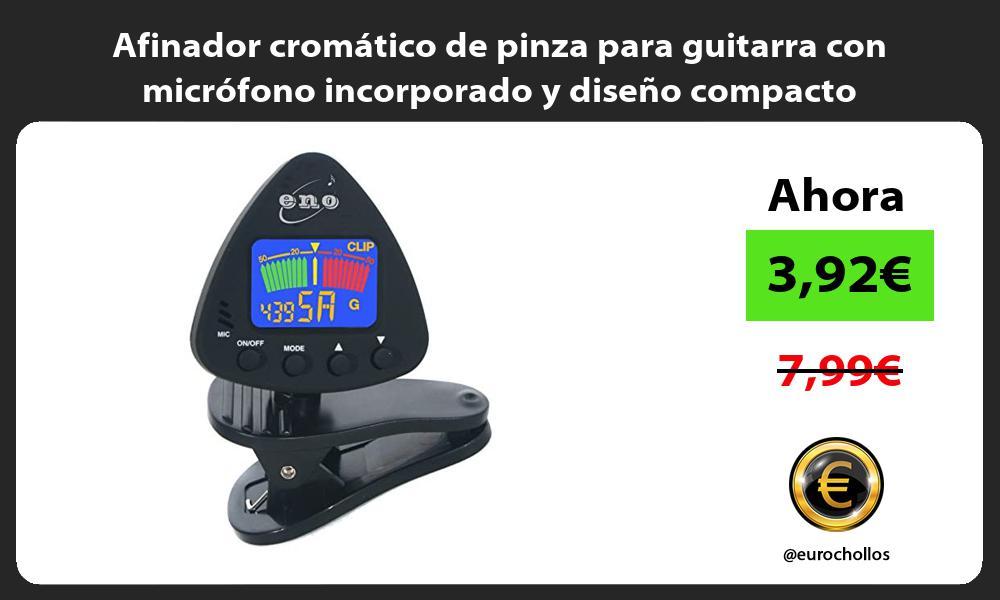 Afinador cromático de pinza para guitarra con micrófono incorporado y diseño compacto