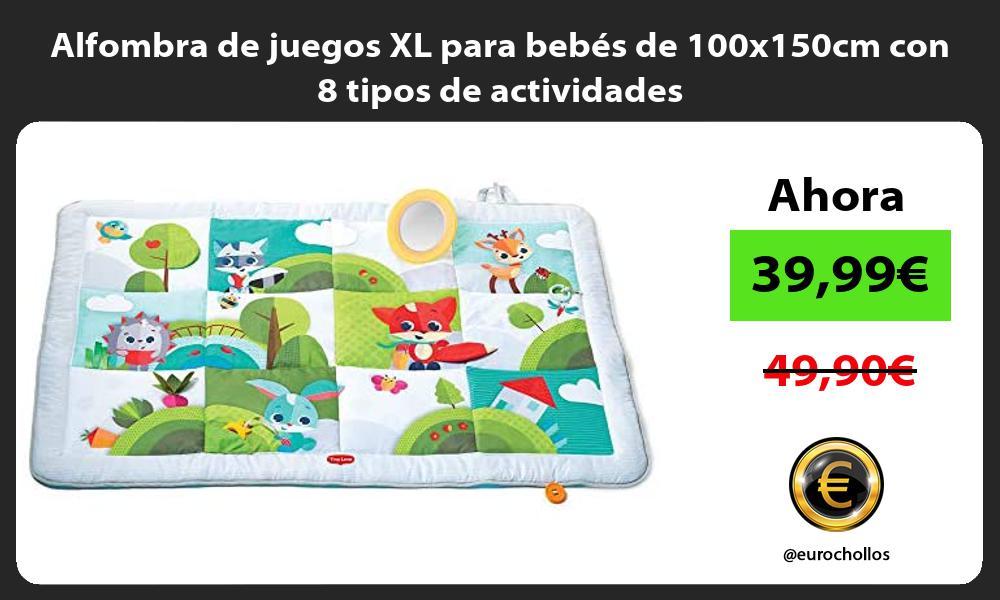 Alfombra de juegos XL para bebés de 100x150cm con 8 tipos de actividades