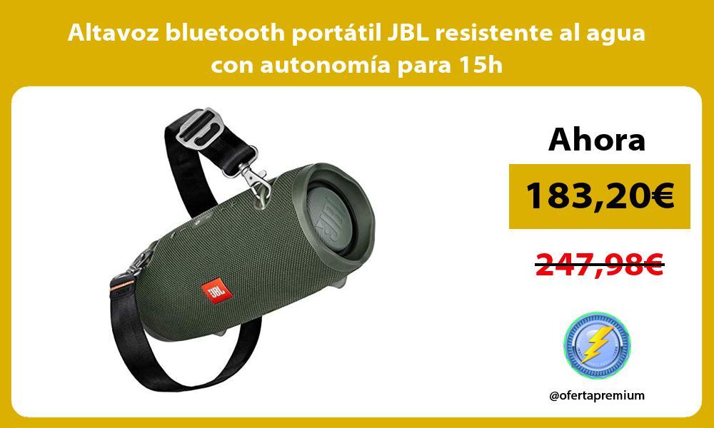 Altavoz bluetooth portátil JBL resistente al agua con autonomía para 15h