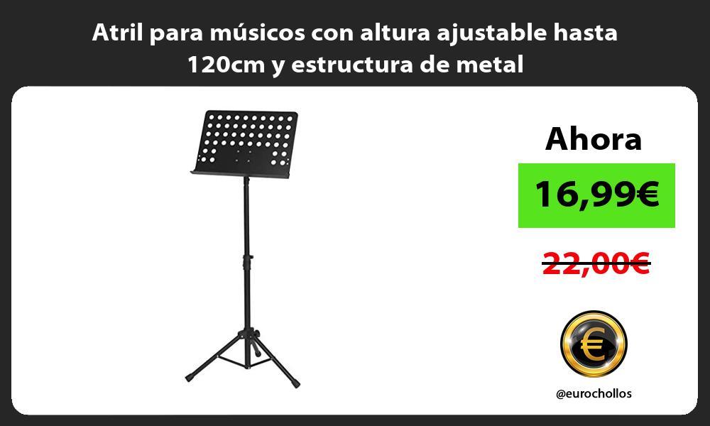 Atril para músicos con altura ajustable hasta 120cm y estructura de metal