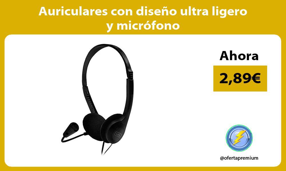 Auriculares con diseño ultra ligero y micrófono