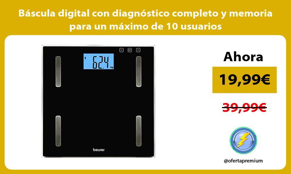 Báscula digital con diagnóstico completo y memoria para un máximo de 10 usuarios