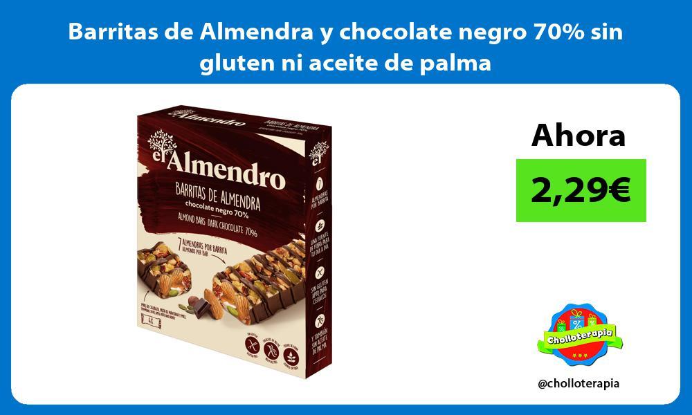 Barritas de Almendra y chocolate negro 70 sin gluten ni aceite de palma