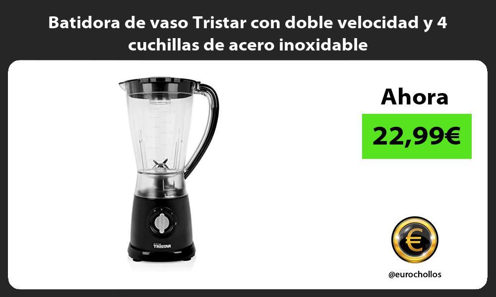 Batidora de vaso Tristar con doble velocidad y 4 cuchillas de acero inoxidable