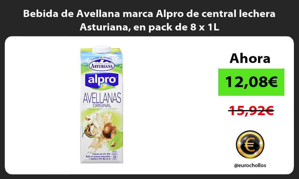 Bebida de Avellana marca Alpro de central lechera Asturiana en pack de 8 x 1L