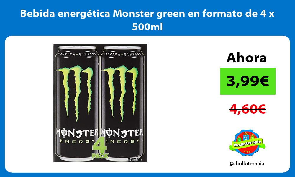 Bebida energética Monster green en formato de 4 x 500ml