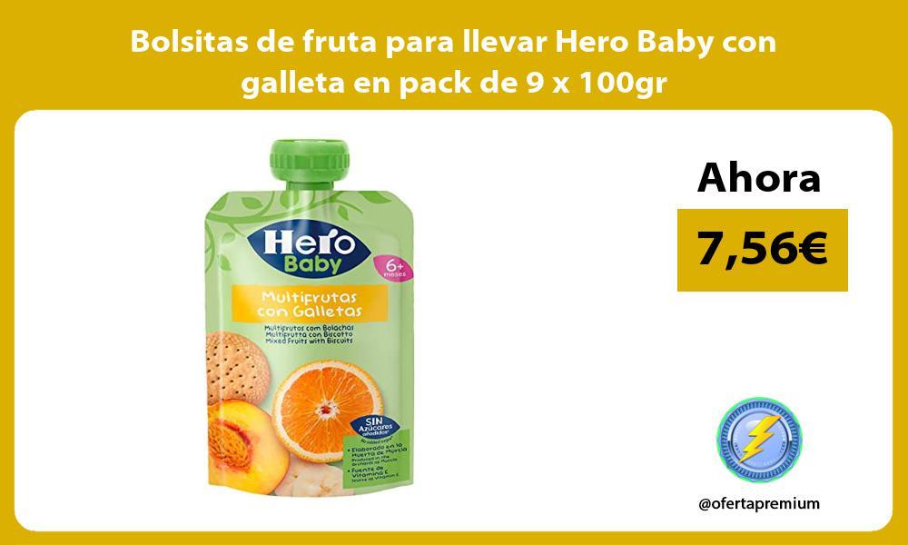 Bolsitas de fruta para llevar Hero Baby con galleta en pack de 9 x 100gr