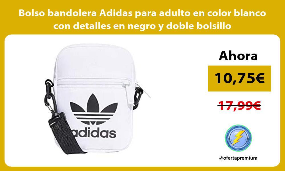 Bolso bandolera Adidas para adulto en color blanco con detalles en negro y doble bolsillo