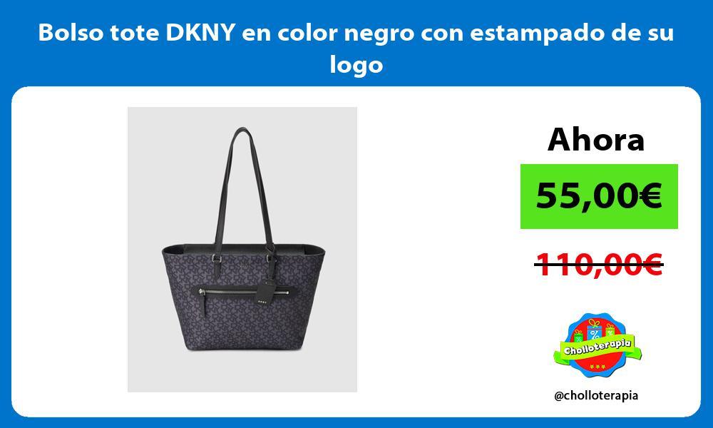 Bolso tote DKNY en color negro con estampado de su logo