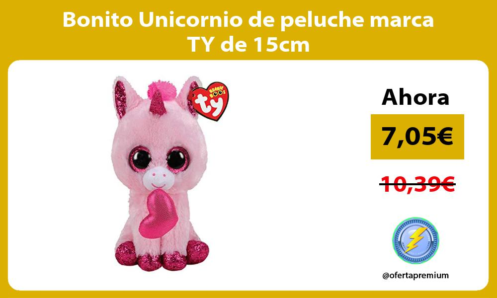 Bonito Unicornio de peluche marca TY de 15cm
